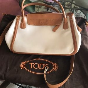 Tod's tan leather and treated canvas handbag